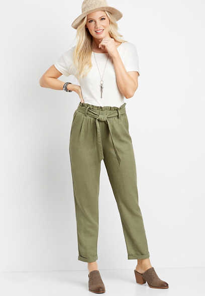 olive paperbag high waist ankle pant