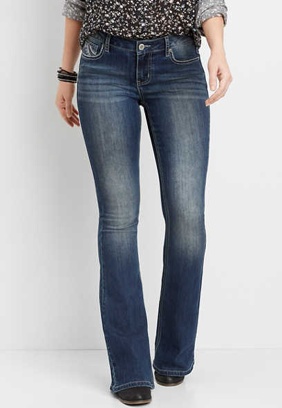 DenimFlex™ medium wash thick stitch flare jean