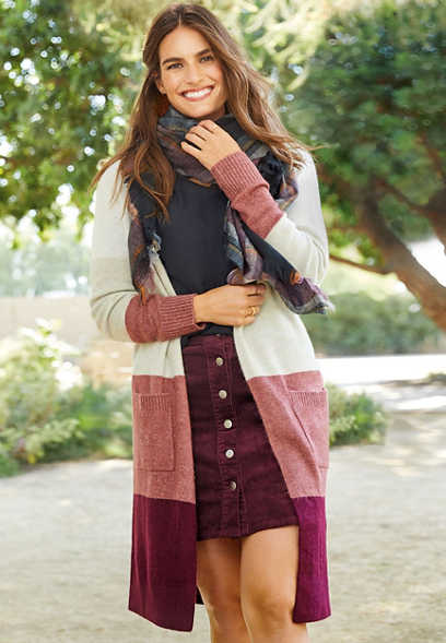 long sleeve colorblock duster cardigan