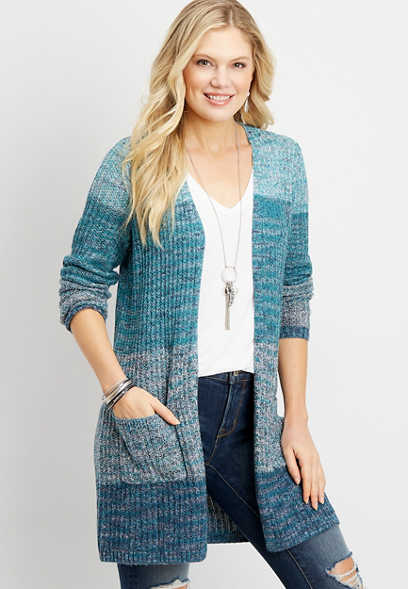 open stitch colorblock duster cardigan