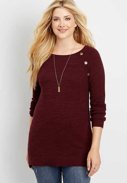raglan button sleeve tunic pullover