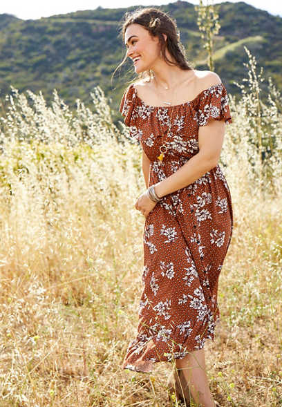 floral off the shoulder ruffled maxi dress