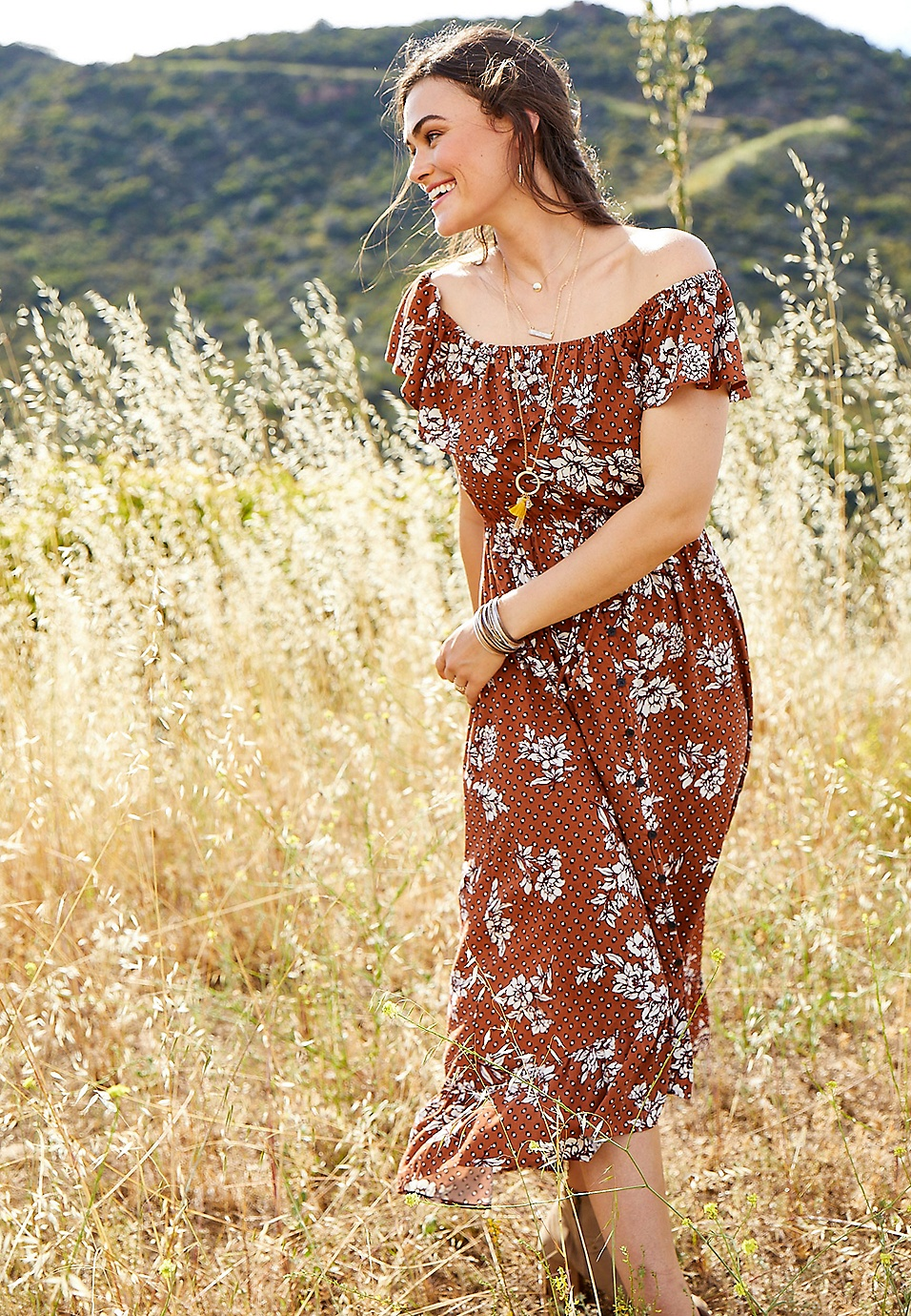 8441e84dd3d floral off the shoulder ruffled maxi dress | maurices