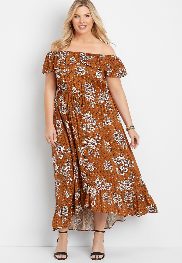 plus size floral off the shoulder ruffled maxi dress
