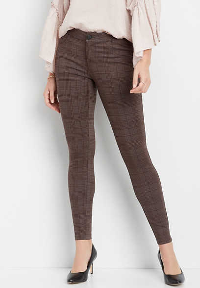 plaid ponte knit skinny ankle pant