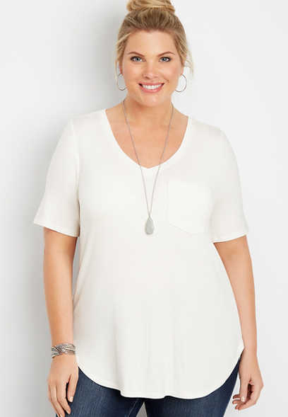 plus size 24/7 solid v-neck tunic tee