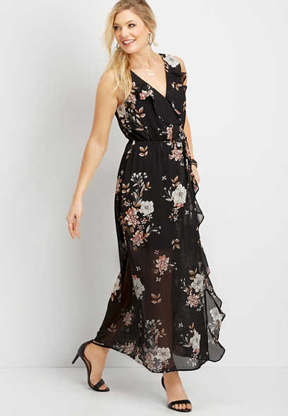 floral ruffle wrap maxi dress