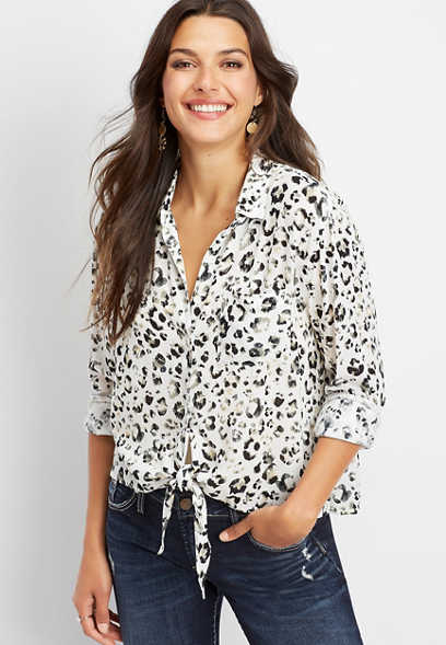 Silver Jeans Co.® animal print button down tie front shirt