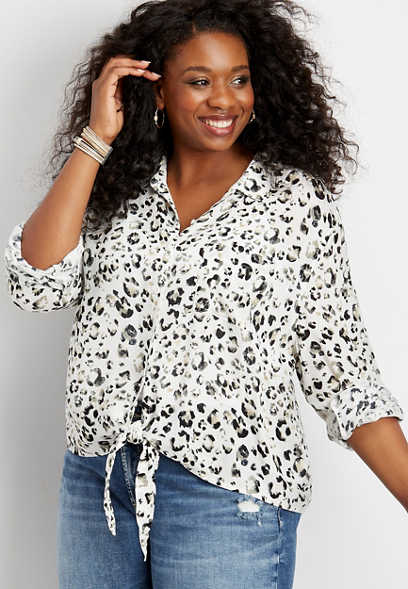 plus size Silver Jeans Co.® animal print button down tie front shirt