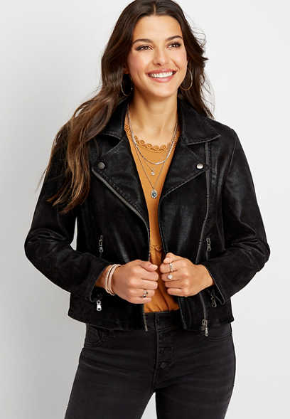 Silver Jeans Co.® faux suede moto jacket