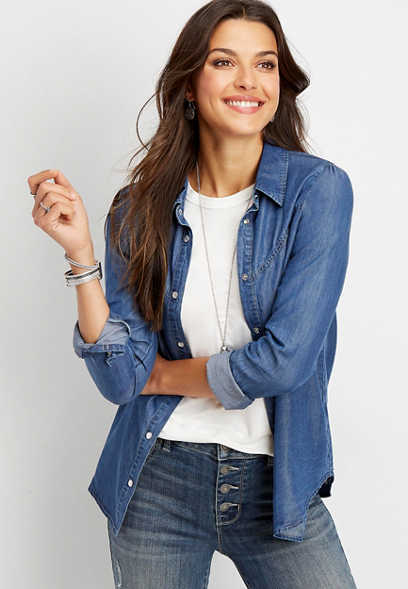 Silver Jeans Co.® denim button down shirt