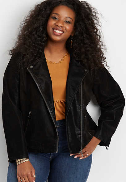 plus size Silver Jeans Co.® faux suede moto jacket
