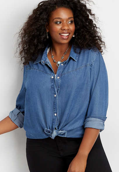 plus size Silver Jeans Co.® denim button down shirt