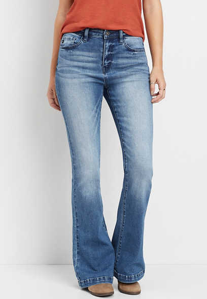 KanCan™ high rise medium wash stretch flare jean