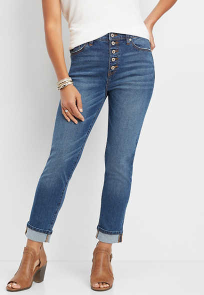 KanCan™ high rise button fly girlfriend jean