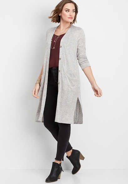 solid button down duster cardigan