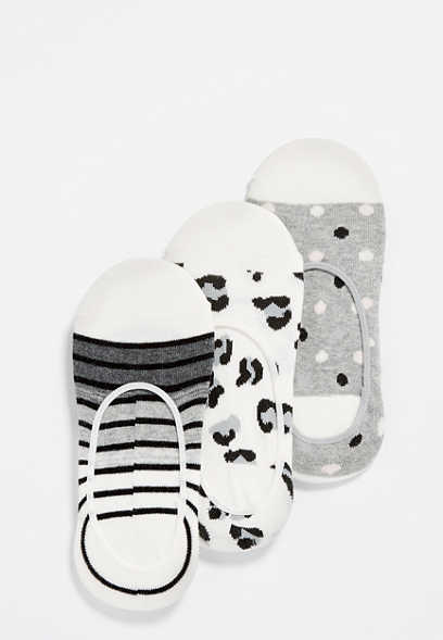three pack black and white multi no show socks