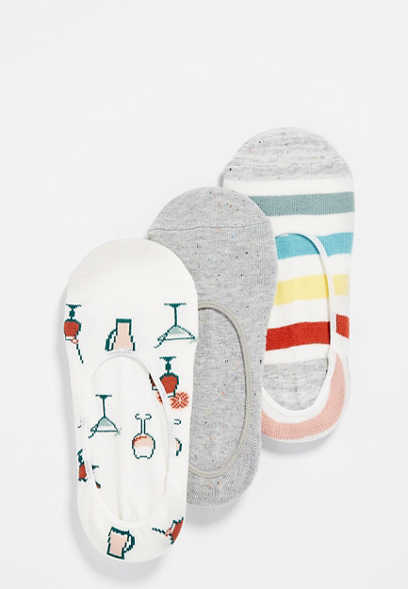 three pack multi patterned no show socks