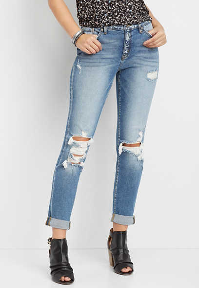 KanCan™ high rise destructed boyfriend jean