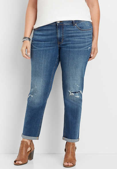 plus size dark wash destructed boyfriend jean