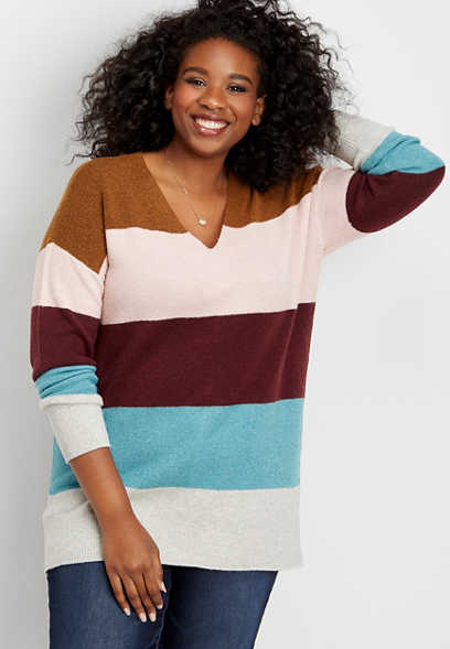 plus size colorblock stripe bar back tunic sweater
