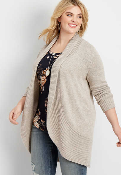 plus size wide rib circle hem open front cardigan