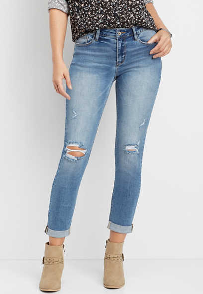 KanCan™ destructed slim straight leg jean