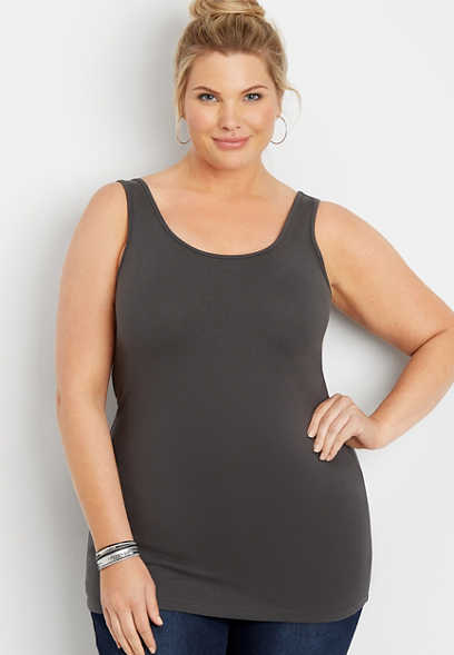 plus size 24/7 solid scoop neck tank
