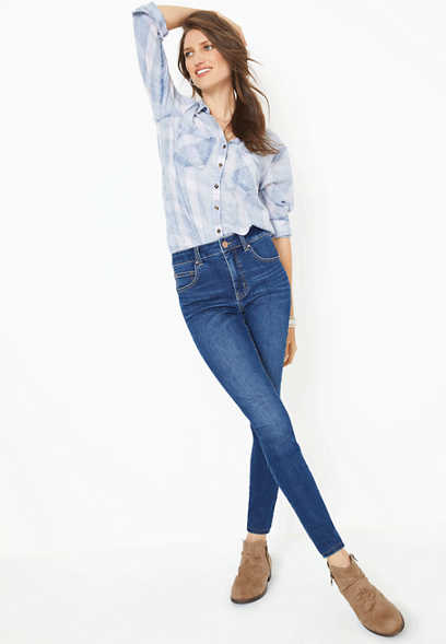Everflex™ high rise dark wash super skinny jean