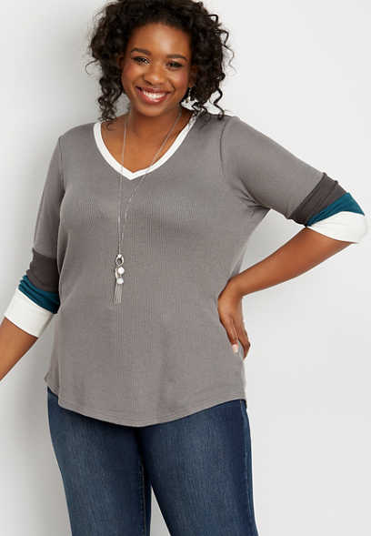 plus size 24/7 blocked sleeve thermal tee