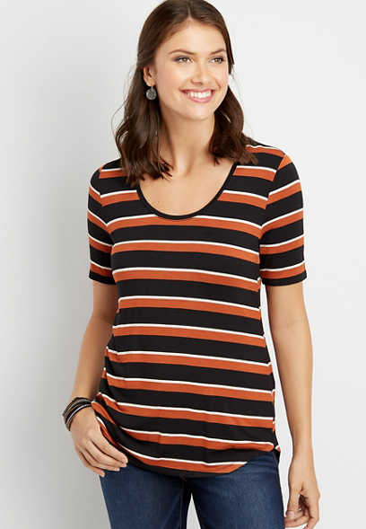 24/7 stripe scoop neck tee