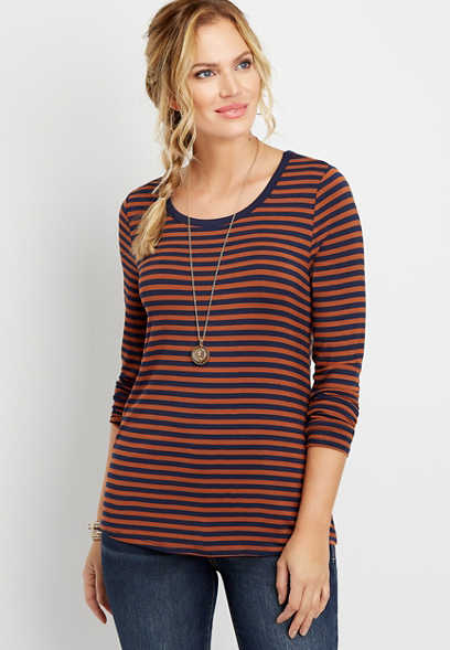 24/7 stripe long sleeve layering tee