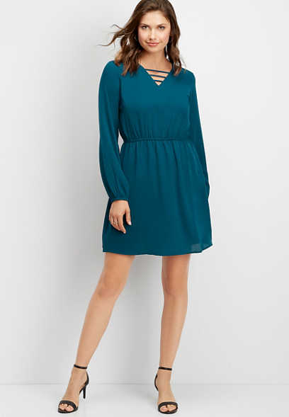 solid strappy neck long sleeve dress