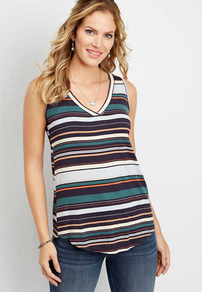 24/7 stripe v-neck tank
