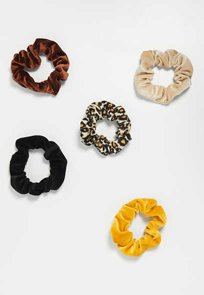 five pack velvet scrunchies