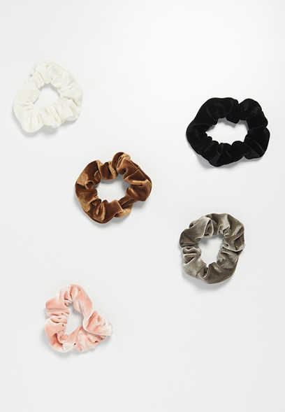 five pack neutral velvet scrunchies