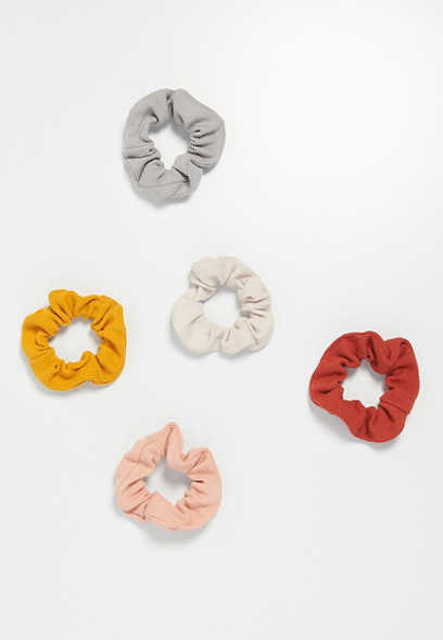 five pack summer rib knit scrunchies