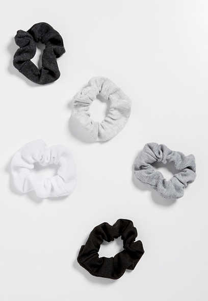 five pack rib knit scrunchies