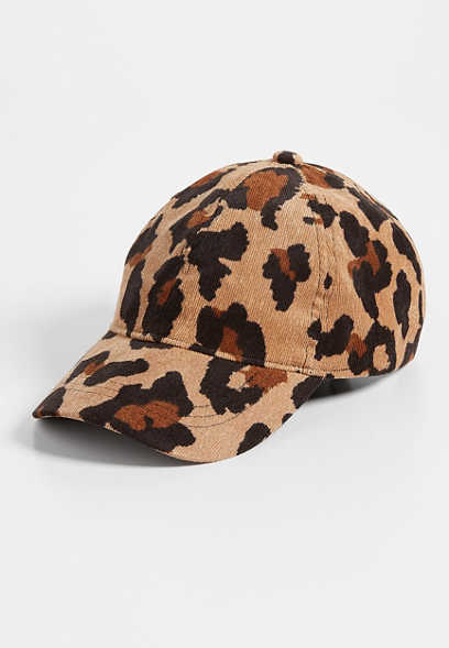 mini leopard corduroy baseball hat