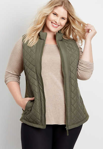 plus size solid active puffer vest