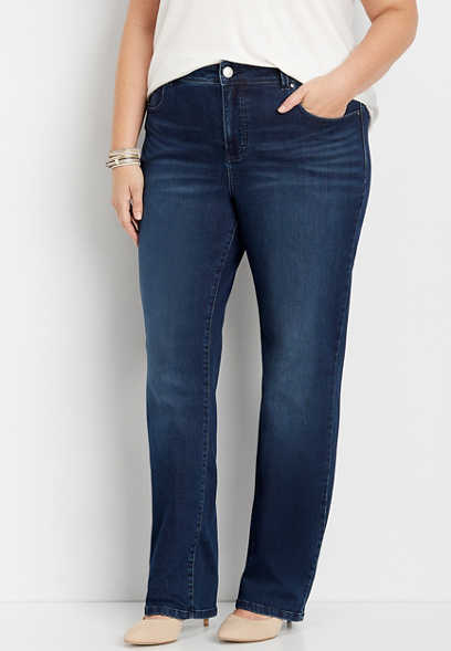 plus size Everflex™ high rise dark stretch straight leg jean