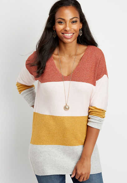 colorblock stripe bar back tunic sweater