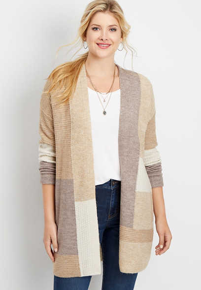 patchwork colorblock open front duster cardigan