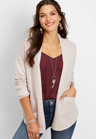 curved hem open front mesh knit cardigan