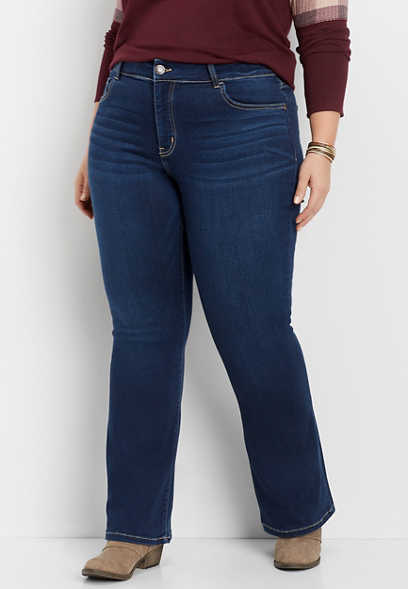 plus size Flying Monkey™ dark wash super soft bootcut jean