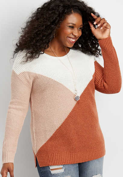 plus size geo colorblock pullover