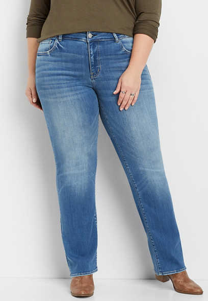 plus size Flying Monkey™ medium wash straight leg jean