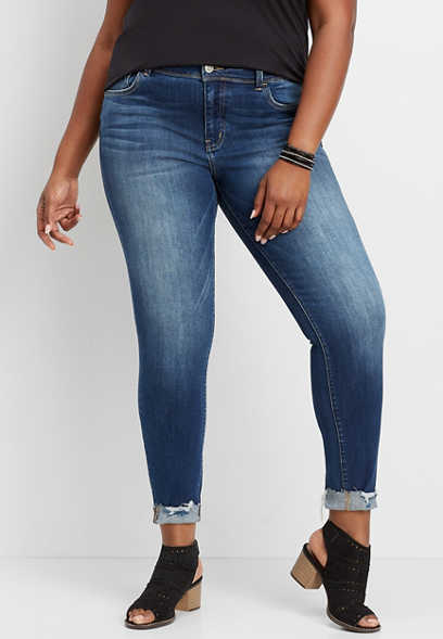 Plus Size Flying Monkey™ Destructed Cuffed Skinny Jean