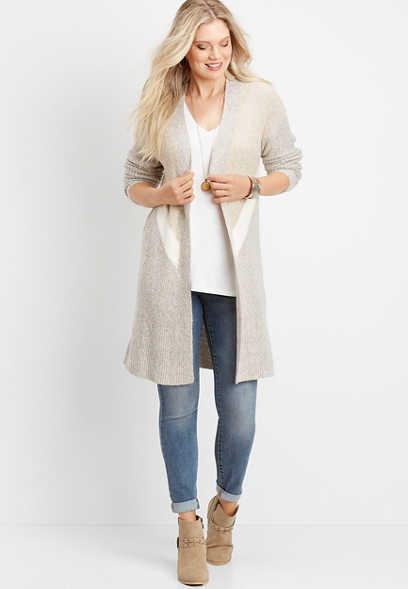 chevron colorblock open front duster cardigan