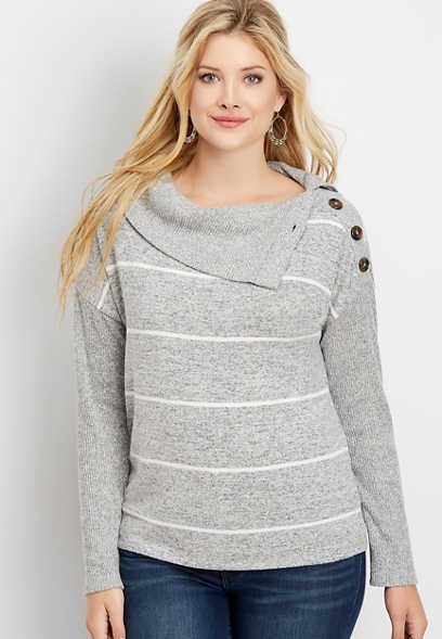 24/7 stripe button cowl neck pullover